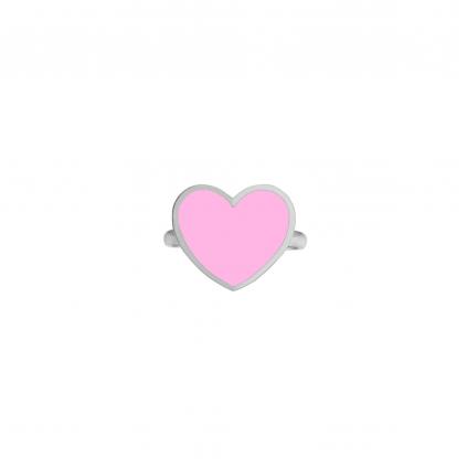 Кольцо серебряное Сердце с эмалью Youko розовое