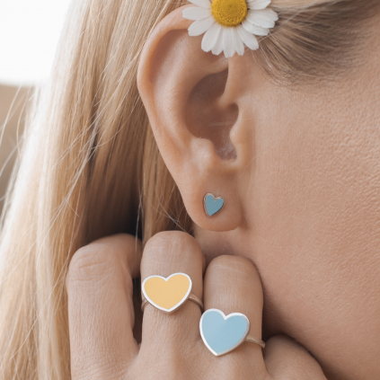 Кольцо серебряное Сердце с эмалью Youko голубое