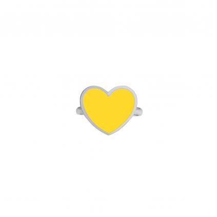 Кольцо серебряное Сердце с эмалью Youko желтое