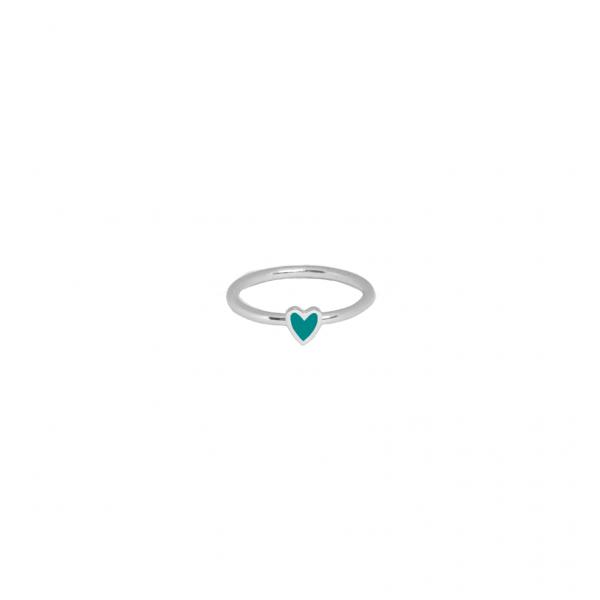 Кольцо серебряное Сердце Маленькое с эмалью Youko тиффани