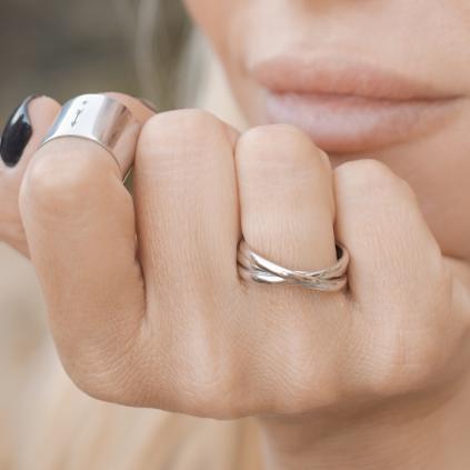 Кольцо серебряное Тройное Youko