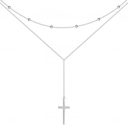 Подвеска серебряная Двойная Крестик Youko