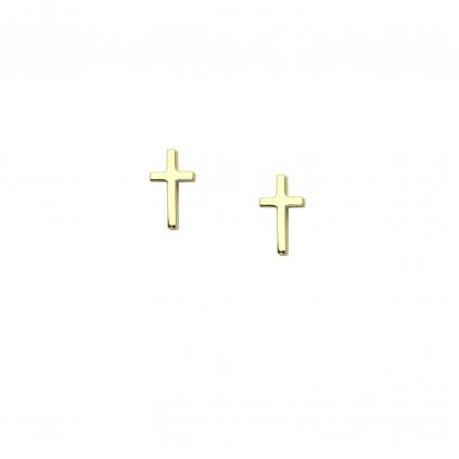 Серьги серебряные Крестики Youko желтая позолота
