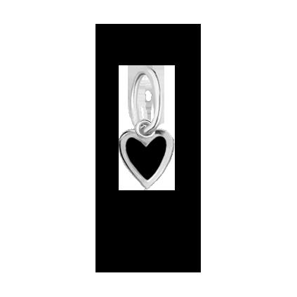 Кулон серебряный Сердце маленькое с эмалью Youko черное конструктор