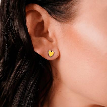 Серьги серебряные Сердце с эмалью Youko желтое