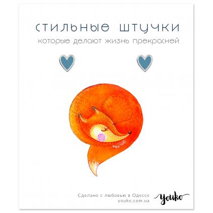 Серьги серебряные Сердце с эмалью Youko голубое