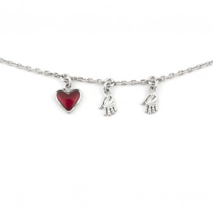 Браслет серебряный Мама Двоих сердце Youko рубиновое