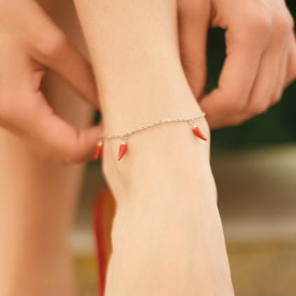 Браслет срібний на ногу (анклет) Перчики підвісні Червоні Youko