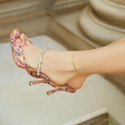 Браслет серебряный на ногу (анклет) Улыбка Youko желтая позолота