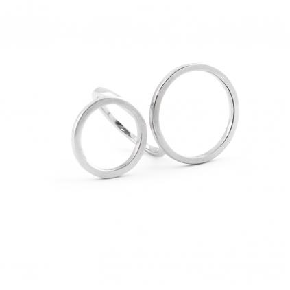 Кольцо серебряное Геометрия 2 Круга Youko