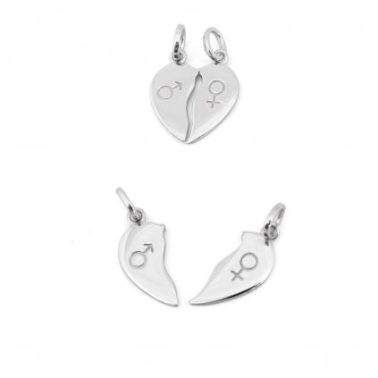Кулон серебряный Сердце на разлом Youko