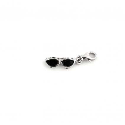 Шарм серебряный Очки лисички Youko для браслета с черной эмалью