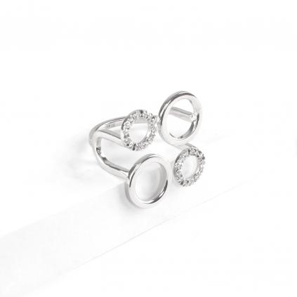 Кольцо серебряное Геометрия 4 Круга Youko с камнями