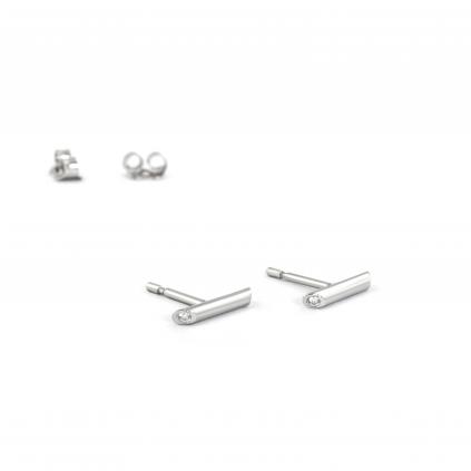 Серьги серебряные Брусочки с двумя цирконами Youko