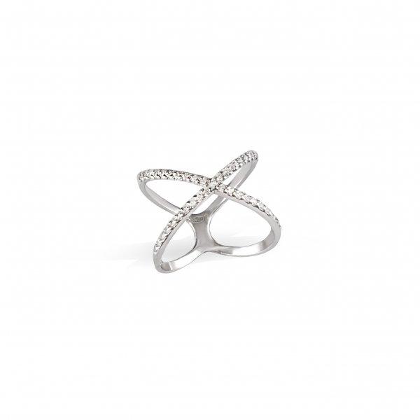 Кольцо серебряное Икс с камнями Youko