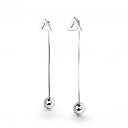 Серьги серебряные Треугольник монолит с подвесом сфера Youko
