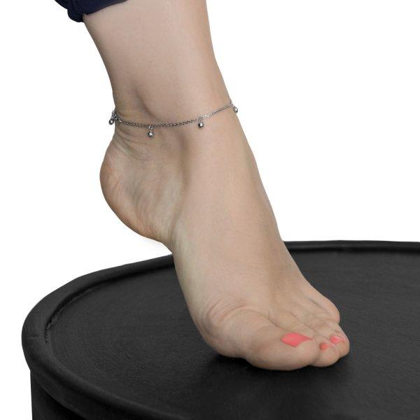 Браслет серебряный на ногу (анклет) Зернышки 5+1 Youko
