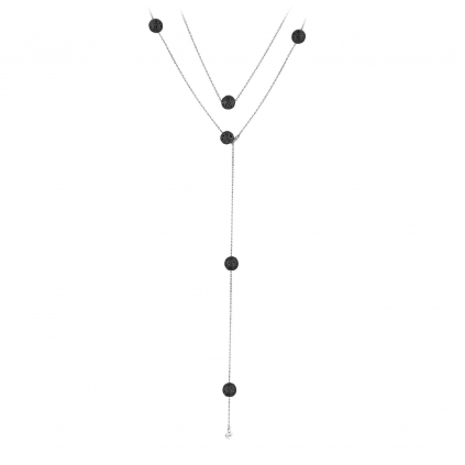 Подвеска серебряная 8 шаров Обсидиан (сотуар) Youko