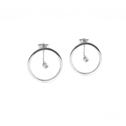 Серьги серебряные Круг с цирконом 1,5 мм Youko