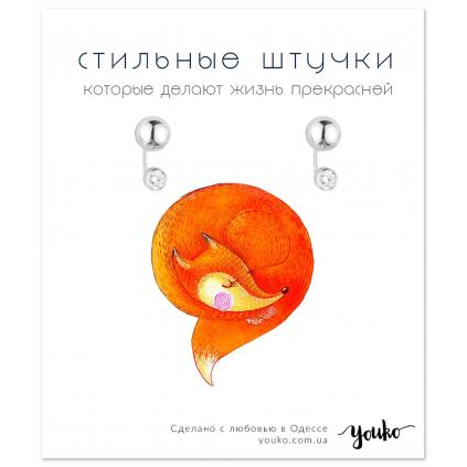Серьги серебряные Сферы с цирконом Youko