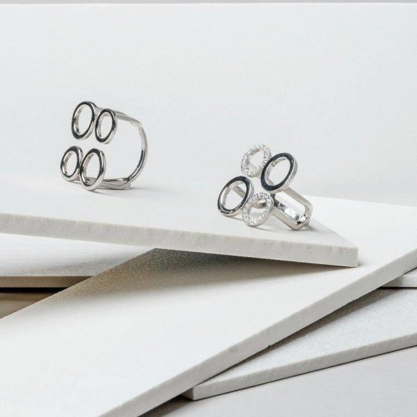 Кольцо серебряное Геометрия 4 круга Youko глянцевое