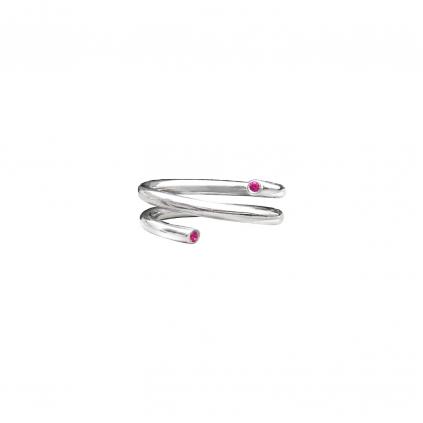 Кольцо серебряное Пружина с цирконами Youko красного цвета
