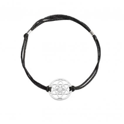 Браслет серебряный Цветок Жизни Youko шелковый шнур черного цвета