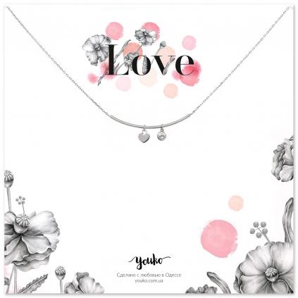 Подвеска серебряная Улыбка с сердцем и цирконом Youko