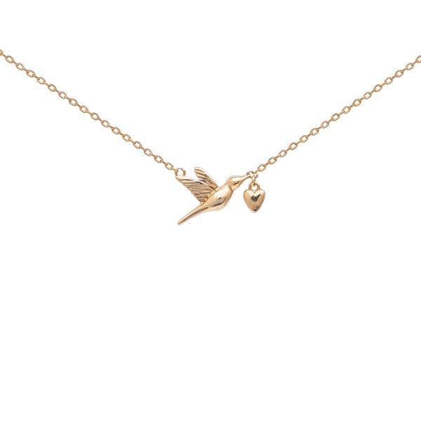 Подвеска серебряная Птица с Сердцем  Youko желтая позолота