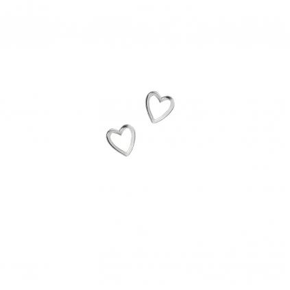 Серьги серебряные Сердце Маленькое с эмалью белое Youko