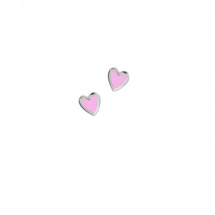 Серьги серебряные Сердце Маленькое с эмалью Youko розовое