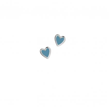 Серьги серебряные Сердце Маленькое с эмалью Youko голубое