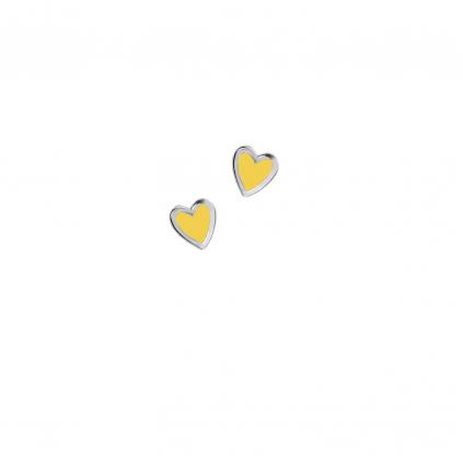 Серьги серебряные Сердце Маленькое с эмалью Youko желтое
