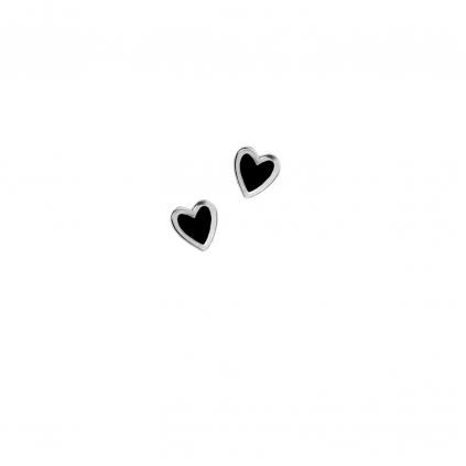 Серьги серебряные Сердце Маленькое с эмалью Youko черное