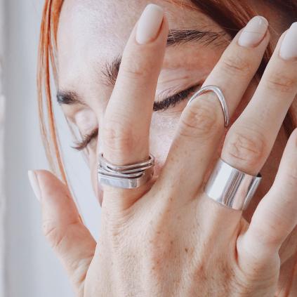 Кольцо серебряное Квадрат Двойной Youko