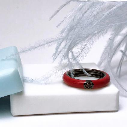Кольцо серебряное Глаз Заката красная эмаль Youko