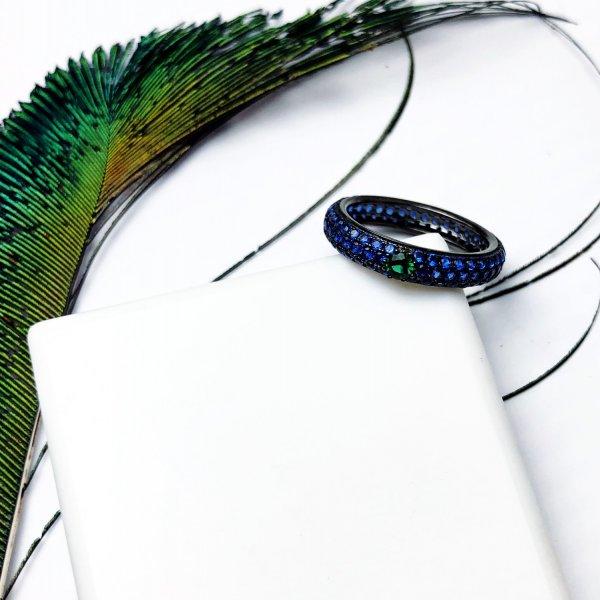 Кольцо серебряное Глаз Павлина синие камни Youko