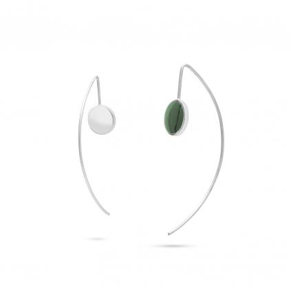 Серьги серебряные Рыбки Круг с эмалью зеленой Youko
