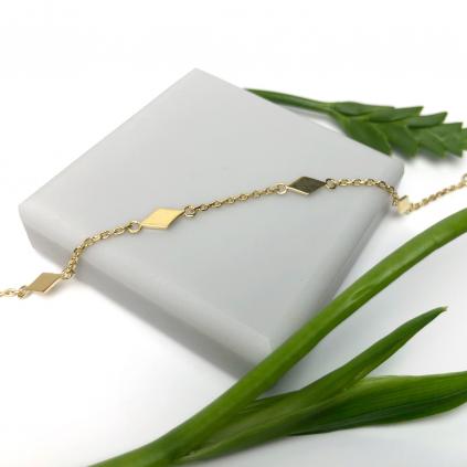 Браслет серебряный Ромбы Youko желтая позолота
