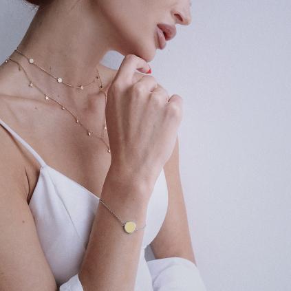 Браслет серебряный Круг с эмалью жёлтой Youko
