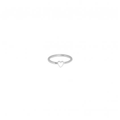 Кольцо серебряное Сердце Маленькое с эмалью Youko белое