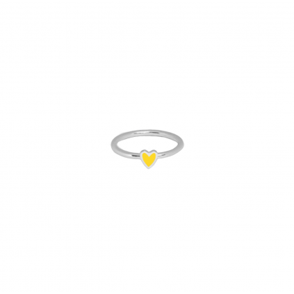 Кольцо серебряное Сердце Маленькое с эмалью Youko желтое
