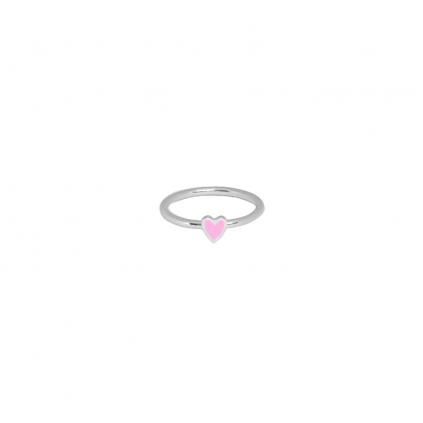 Кольцо серебряное Сердце Маленькое с эмалью Youko розовое