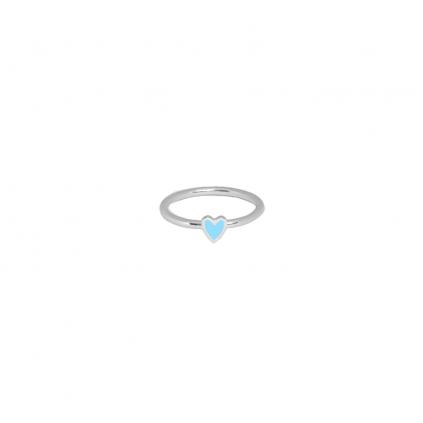 Кольцо серебряное Сердце Маленькое с эмалью Youko голубое