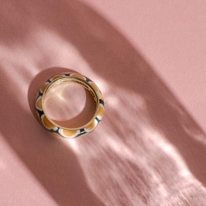 Кольцо серебряное Глаз Питона Бежевого Youko