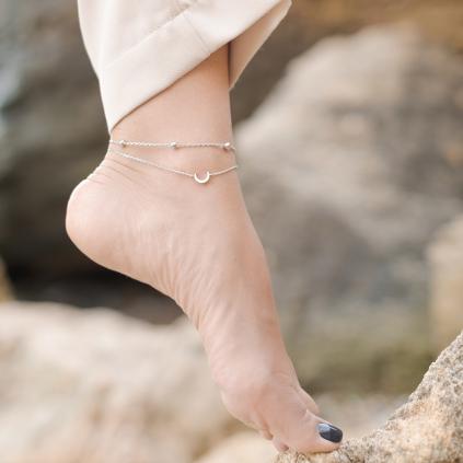 Браслет серебряный на ногу (анклет) Луна Youko