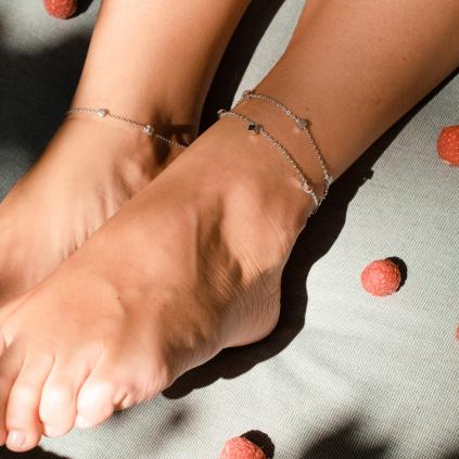 Браслет серебряный на ногу (анклет) Кубики на якорной цепочке Youko