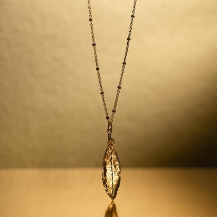 Подвеска серебряная Перо Youko желтая позолота