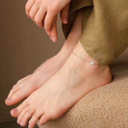 Браслет серебряный на ногу (анклет) Клевер Youko