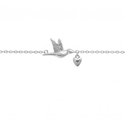 Браслет серебряный Птица с Сердцем Youko
